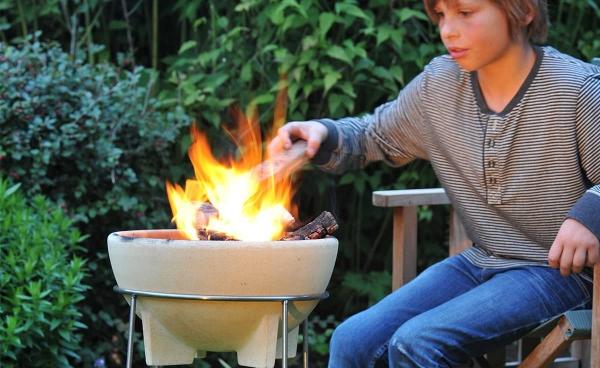 Bol ceramic pentru foc cu stand 1