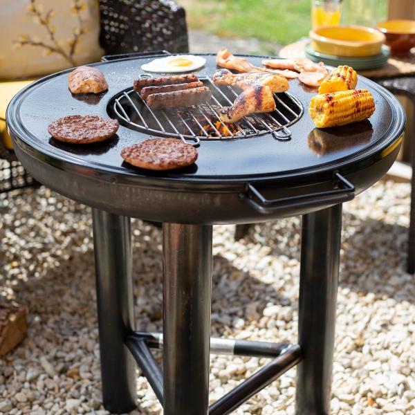 Fire Pit cu grătar și plită